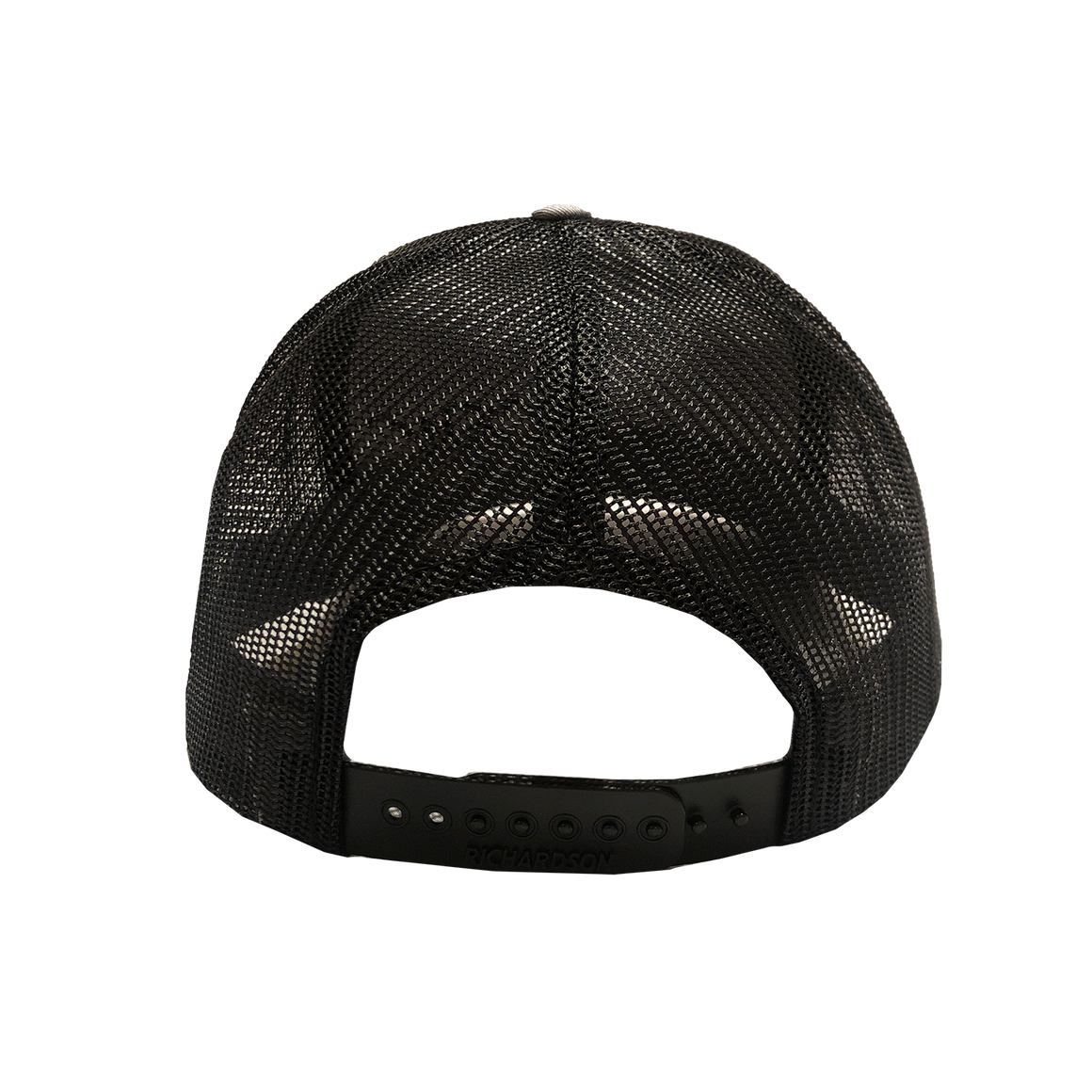 Back of gray CFW trucker cap. Sides and back are black mesh with a black adjustable band.