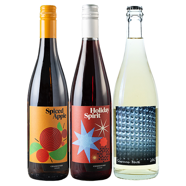 750ml bottles of Spiced Apple, Holiday Spirit and '18 Sparkling White