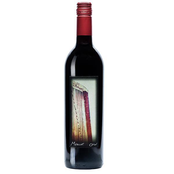 750ml bottle of 2017 Merlot. Black bottle with a red corkscrew cap. Label depicts a close shot of door on property..
