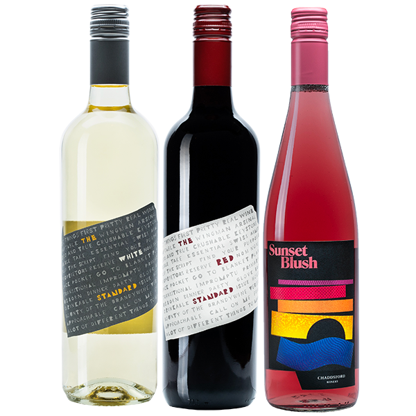 750ml bottles of The White Standard, The Red Standard, and Sunset Blush