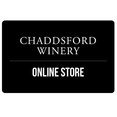 Black card with white text. Text includes Chaddsford Winery, Online Store.