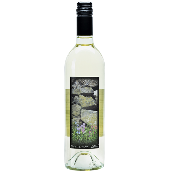 750ml bottle of 2018 Pinot Grigio. Clear bottle with black corkscrew. Label depicts stack of rocks on property.