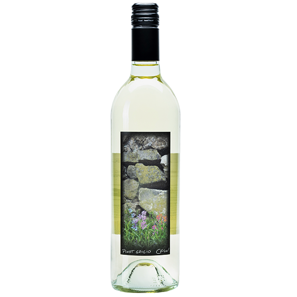 750ml bottle of 2018 Pinot Grigio. Clear bottle with black screw cap. Label depicts stack of rocks on property.