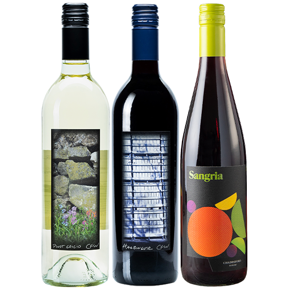 750ml bottles of '18 Pinto Grigio, '17 Harbinger and Sangria