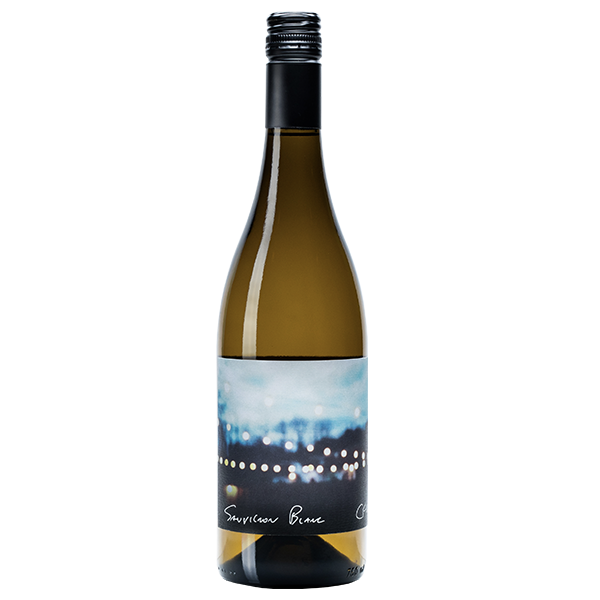 750ml bottle of 2018 Sauvignon Blanc, label showcases property at dusk with patio lights, black screwcap