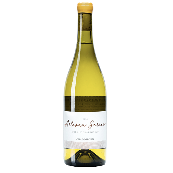 Frontal view of 750ml bottle of 2016 Sur Lie Chardonnay. Bottle enclosed with yellow wax.