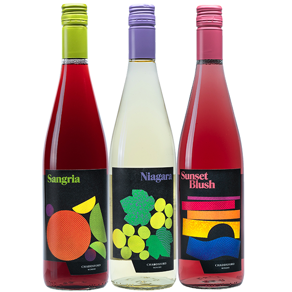 750ml bottles of Sangria, Niagara and Sunset Blush