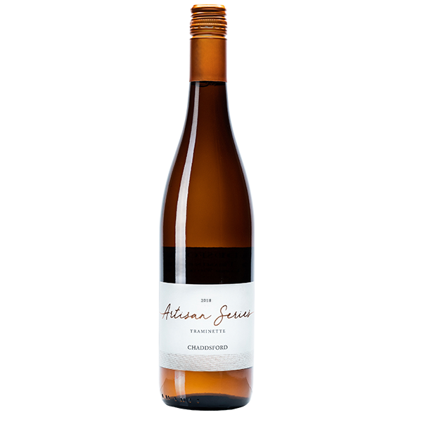 750ml bottle of 2018 Artisan Series Traminette. Gold bottle with a golden corkscrew.