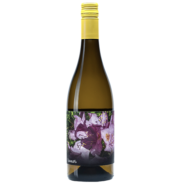 750ml bottle of 2019 Vignoles. Brown-tinted bottle with yellow screwcap. Label is a purple flower.