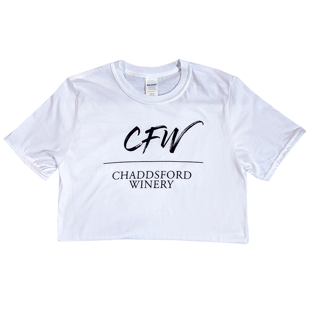 White t-shirt with black chaddsford label in the center of the chest