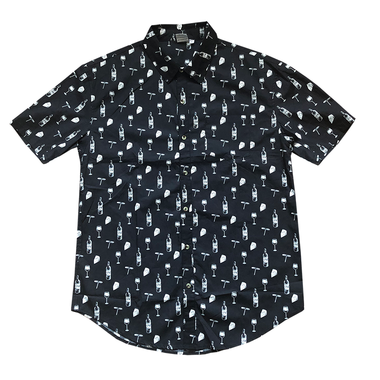 Front of men's button up black shirt with small repeated patterns of cheese blocks, wine bottles, wine openers and glasses of wine