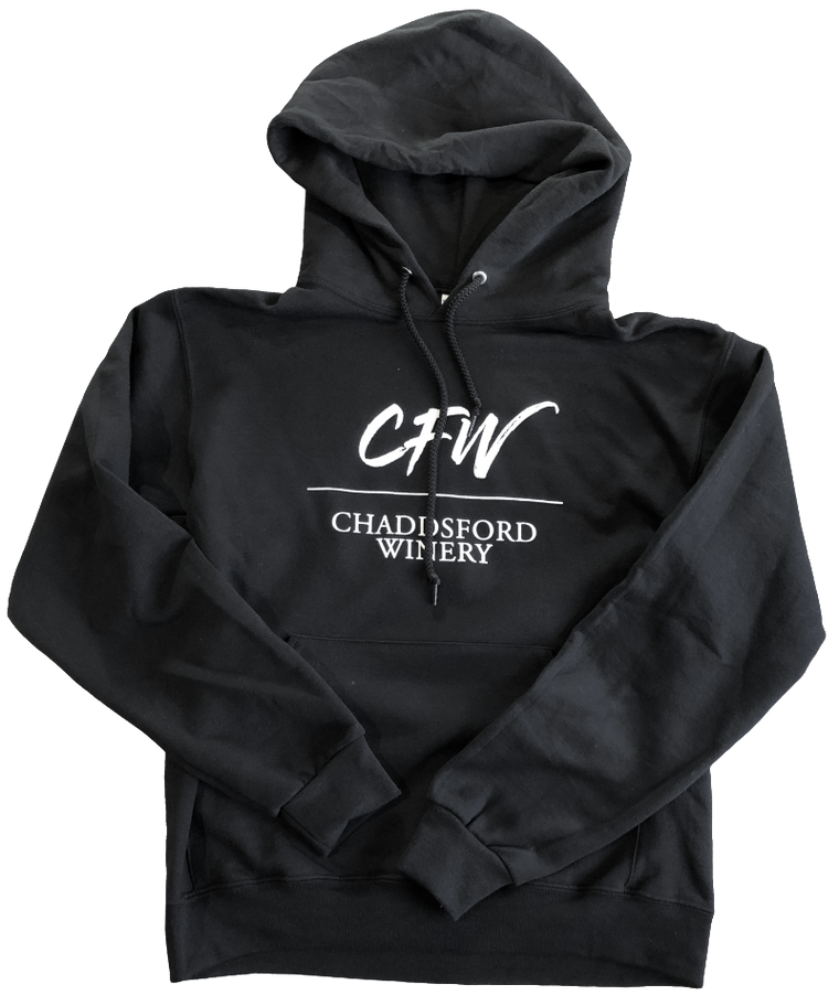 Black hoodie with white Chaddsford logo in the center