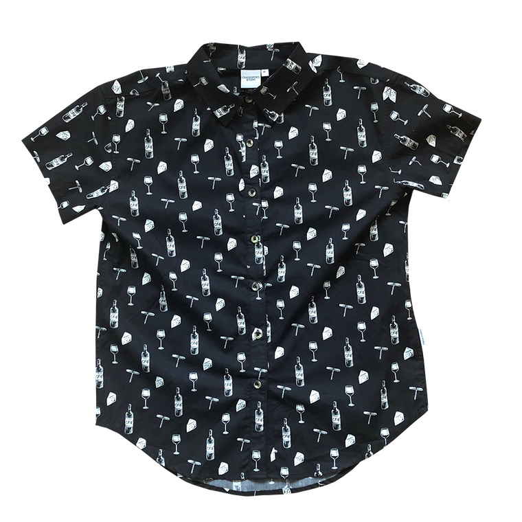 Front of women's black button up shirt. Design pattern features repeated glasses of wine, cheese blocks, bottles of wine and wine openers in white.