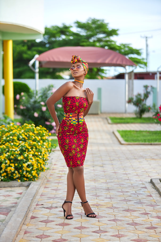 Kente corset and accessories set - TrueFond
