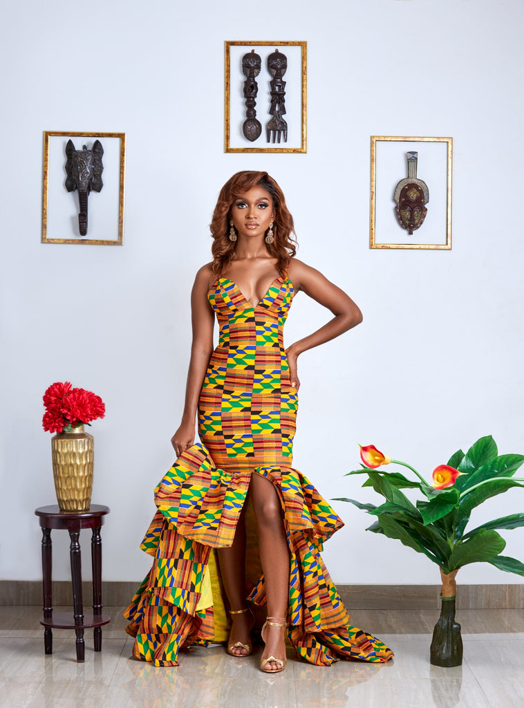Golden Ajua royal kente gown