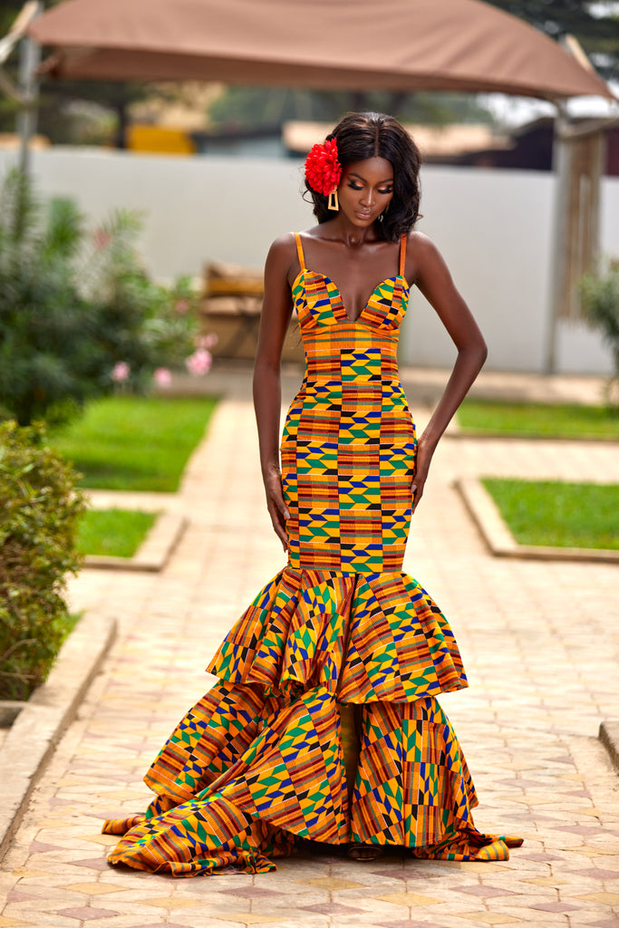 Golden Ajua royal kente gown - TrueFond