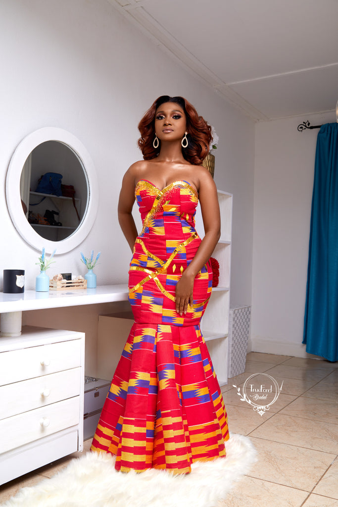 Red kente gown