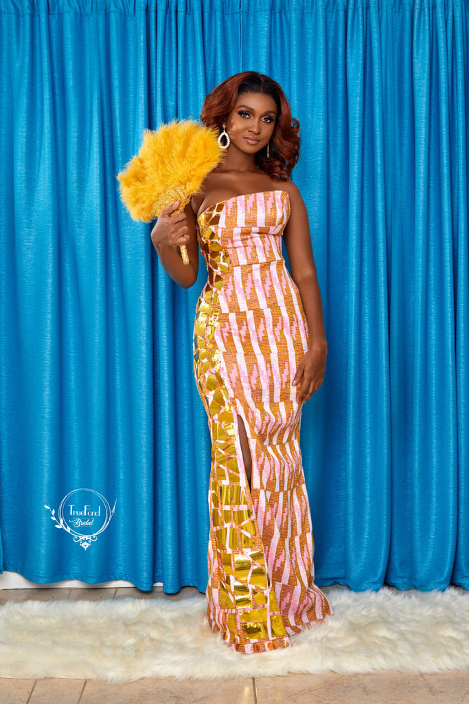 Pink kente gown
