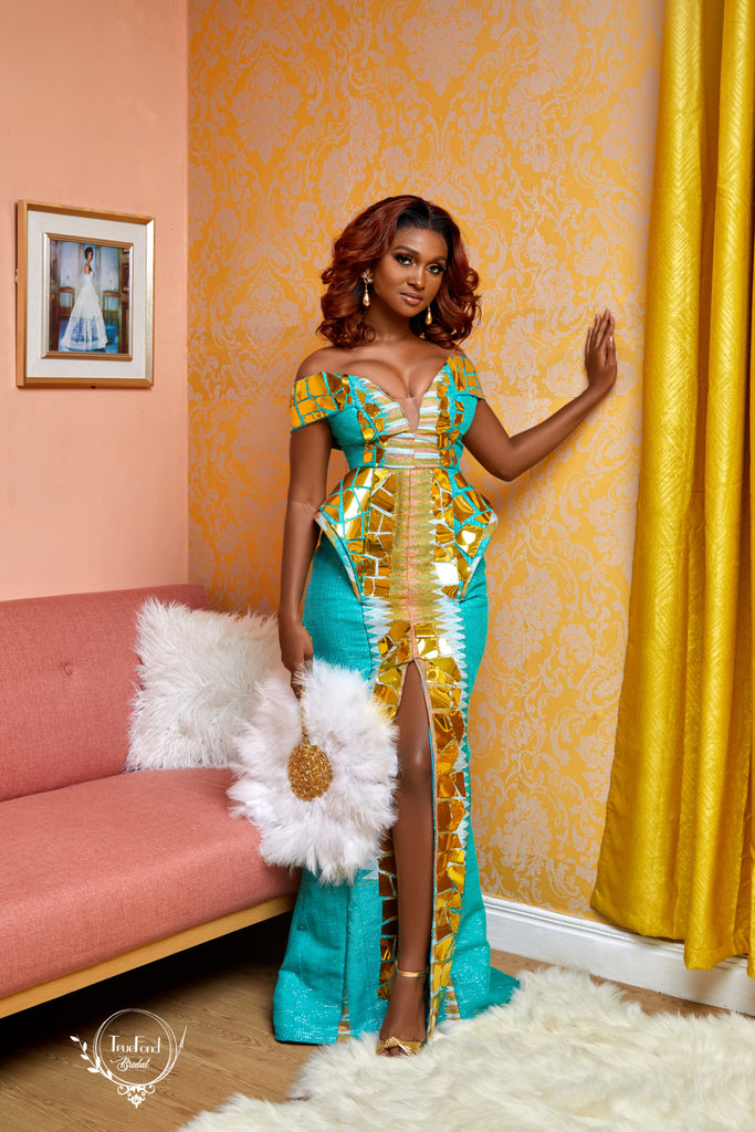 Teal kente gown - TrueFond