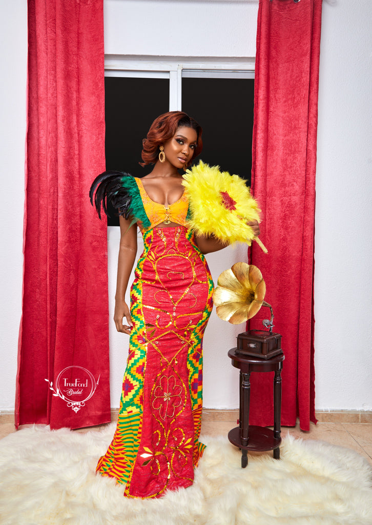 Feather kente gown