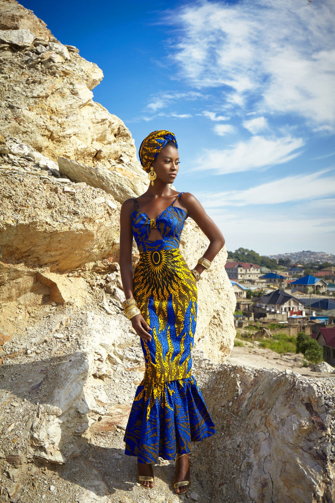 Azura sun dress with matching headwrap - TrueFond