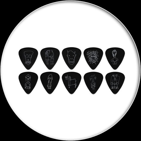 Planet Waves Joe Satriani Plectrums ICBK6-10JS Silver on Black