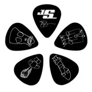 Planet Waves Joe Satriani Plectrums 1CBK4-10JS Silver on Black