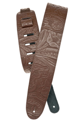 Planet Waves Embossed Brown Guitar Strap 25LE01