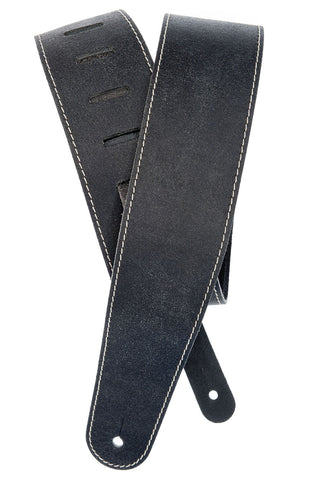 Planet Waves Stonewashed Black Leather Guitar Strap 25VNS00DX