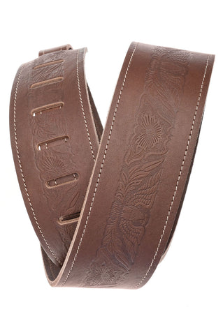 Planet Waves Western Eagle Brown Leather Guitar Strap 25WSTE01