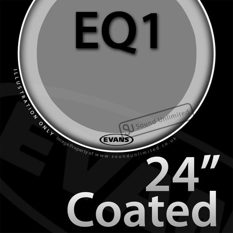 Evans BD24GB1C 24 inch EQ1 Bass Batter Coated 1-ply