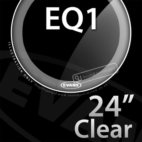 Evans BD24GB1 24 inch EQ1 Bass Batter Clear 1-ply