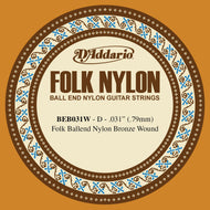 D'Addario BEB031W Folk Nylon Guitar Single String, Bronze Wound, Ball End, .031