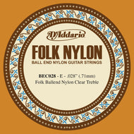 D'Addario BEC028 Folk Nylon Guitar Single String, Clear Nylon, Ball End, .028