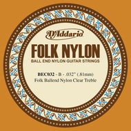 D'Addario BEC032 Folk Nylon Guitar Single String, Clear Nylon, Ball End, .032