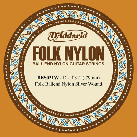 D'Addario BES031W Folk Nylon Guitar Single String, Silver Wound, Ball End, .031