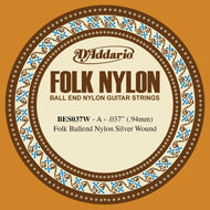 D'Addario BES037W Folk Nylon Guitar Single String, Silver Wound, Ball End, .037