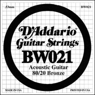 D'Addario BW021 Bronze Wound Acoustic Guitar Single String, .021