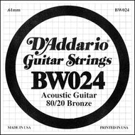 D'Addario BW024 Bronze Wound Acoustic Guitar Single String, .024