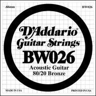 D'Addario BW026 Bronze Wound Acoustic Guitar Single String, .026