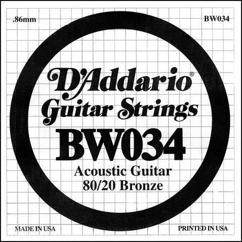 D'Addario BW034 Bronze Wound Acoustic Guitar Single String, .034