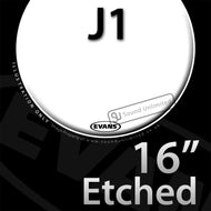 Evans E16J1 16 inch J1 Jazz Etched Batter Clear 1-ply