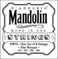 D'Addario FW74 Flatwound Mandolin Strings, Phosphor Bronze, Medium, 11-36