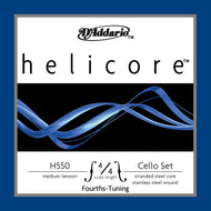 D'Addario Helicore Fourths-Tuning Cello Set, 4/4 Scale, Medium Tension