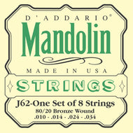 D'Addario J62 80/20 Bronze Mandolin Strings, Light, 10-34