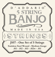 D'Addario JS57 5-String Banjo Strings, Stainless Steel, Custom Medium, 11-22