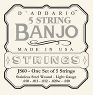 D'Addario JS60 5-String Banjo Strings, Stainless Steel, Light, 9-20