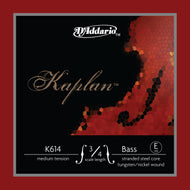 D'Addario Kaplan Bass Single E String, 3/4 Scale, Medium Tension - K614 3/4M