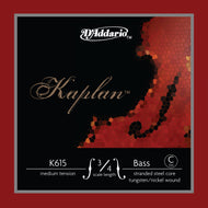 D'Addario Kaplan Bass Single C (Extended E) String, 3/4 Scale, Medium Tension - K615 3/4M