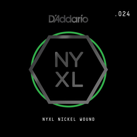 D'Addario NYXL Nickel Wound Electric Guitar Single String, .024